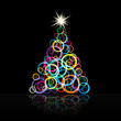 Abstract Christmas tree with curls # vector