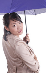 Stylish woman holding umbrella