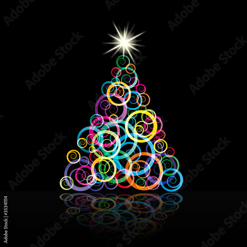 Abstract Christmas tree with curls # vector - 35341114