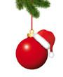 Rote Kugel mit Weihnachtsmütze und Tannenzweige
