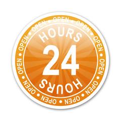 Pegatina redonda OPEN 24 HOURS