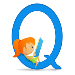 Letter Q with sitting reading cute girl