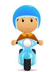 Cartoon man ride on moto scooter