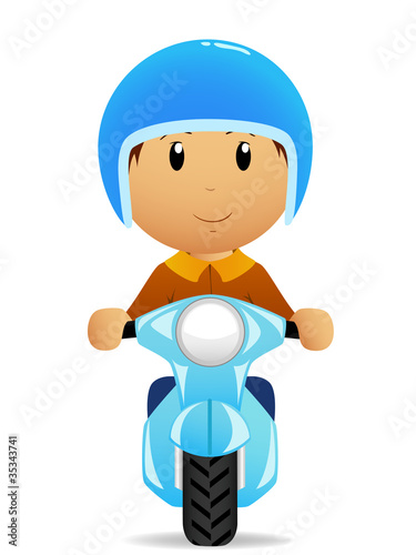 Cartoon man ride on moto scooter