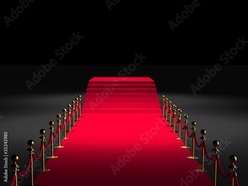 Leinwanddruck Bild Tapis rouge 3D - Podium marches