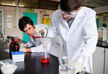Young chemistry students making an experiment