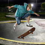 Skate boarder jumping