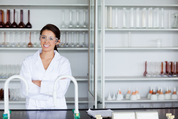 Smiling science student posing
