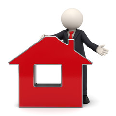 3d busines man presenting a red house