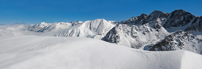 Horizontal panorama of  winter Pyrenees mountains, Andorra