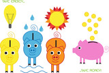 funny piggy banks,saving energy motives poster