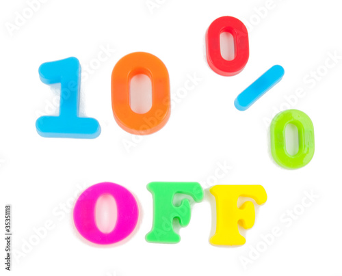 10% off written in fridge magnets