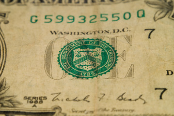 Macro Detail Of An Old One Dollar Bill v10