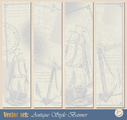 Vector set: Grunge nautical banner for decoration and design