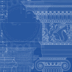 Blueprint. Hand draw sketch ionic architectural order