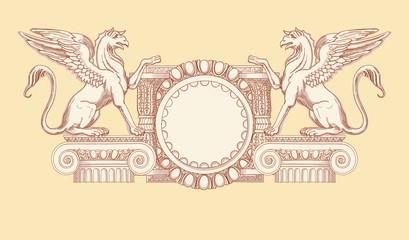 Vintage emblem. Hand draw sketch