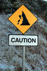 landslide sign in snow