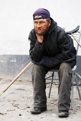 Disabled homeless man
