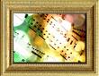 Spartito musicale su texture incorniciata