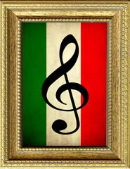 Omaggio all'opera lirica italiana, quadro con bandiera italiana