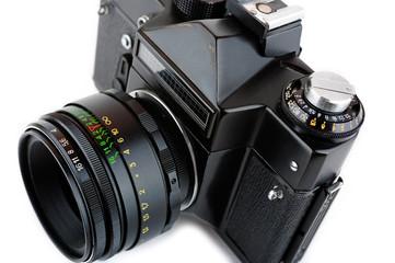 Close-up view of a classic manual SLR film camera