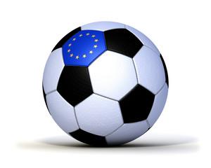 Fußball genäht Europa Gewebe Leder freigestellt