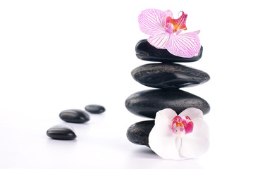 Spa stones with pink flower