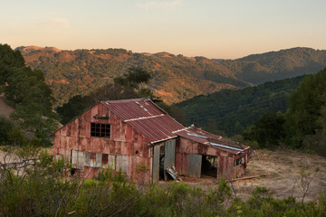 Old abandoned red barn in Almaden Quicksilver, California