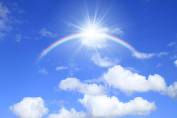 青空と太陽と虹