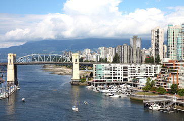 Burrard and skyline of south Vancouver BC Canada.