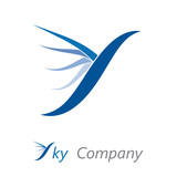 Logo letter S, bird in the sky # Vector