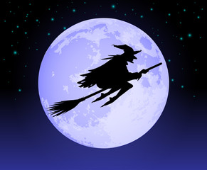 Witch Flying Past the Moon