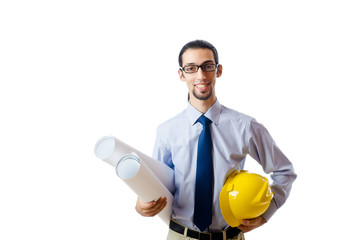 Engineer working with drawings on white