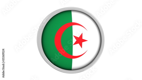 Algerian flag with circular frame