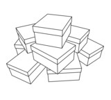 linear illustration of stacked white boxes with cover on white poster