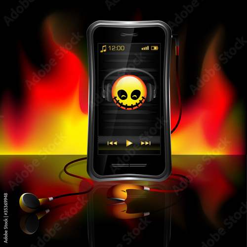 Mobile phone playing music