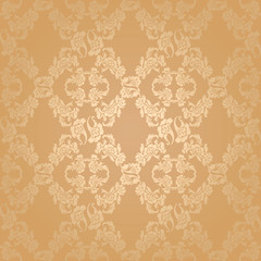 Vector seamless background flowers, floral gold