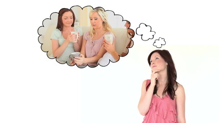 Woman thinking about being with her friends