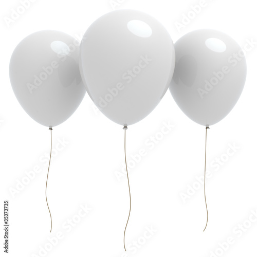Three 3d white balloons with copyspace © Jocky