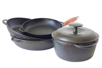 Cast iron pans and pot