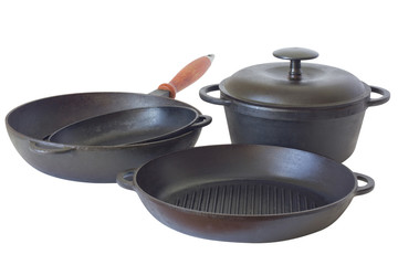 Set of cast iron pans