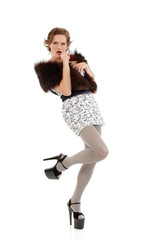 gay man attractive she-male makeup with dress and platform shoes