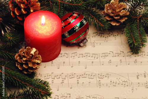Christmas still life with music notes
