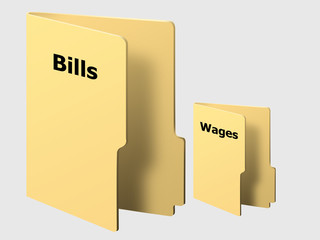 Yellow Computer Folders Showing Debt