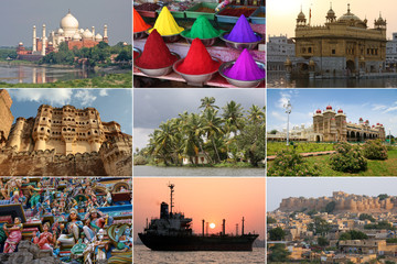 Colorful sights of India in a collage