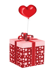 Box with a gift and balloon in the form of heart