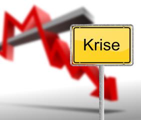 Krise mit Schild