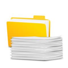 Ordner mit Papierstapel