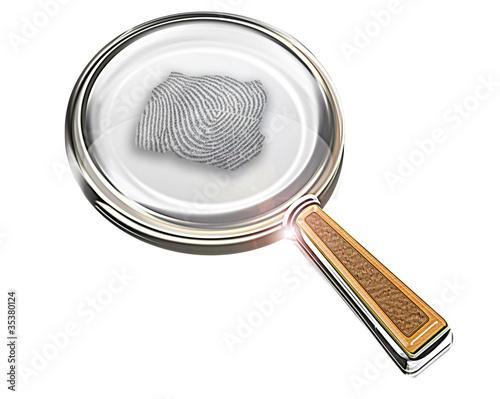 Lupe mit Fingerprint