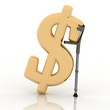 sign of dollar, supported by a crutch, over white background